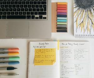 books, desk, and inspiration image