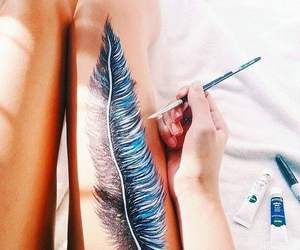 art, feather, and girl image