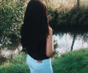 black, long hair, and sad image