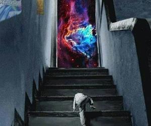 boy, escaleras, and galaxy image