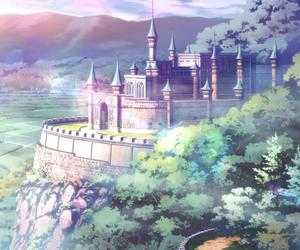 anime, castle, and nature image