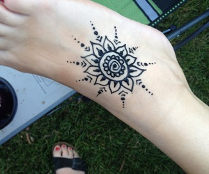 foot, henna, and summer image