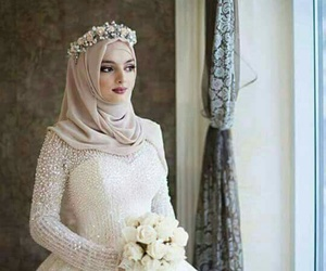 hijab, flowers, and white image