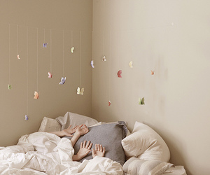 butterfly, bed, and hands image