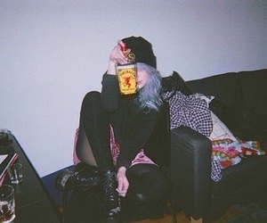 grunge, girl, and drink image