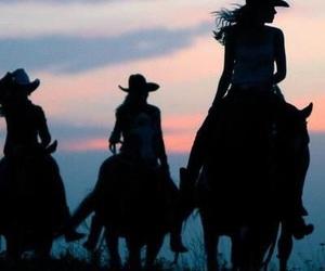 horse, sunset, and girls image