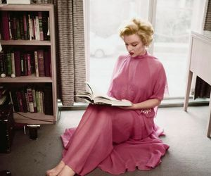 Marilyn Monroe, book, and pink image