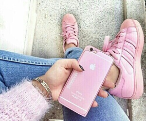 adidas, jeans, and pink image