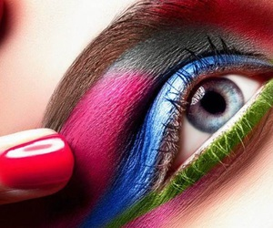 blue, makeup, and painted nails image