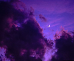 moon, sky, and purple image