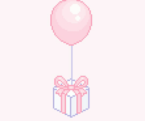 pixel, balloons, and gif image