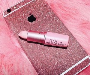 pink, iphone, and lipstick image