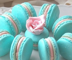 blue, macaroons, and pink image