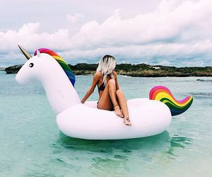 unicorn, girl, and summer image