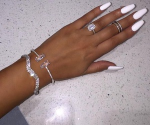 jewelry, nail polish, and white nails image