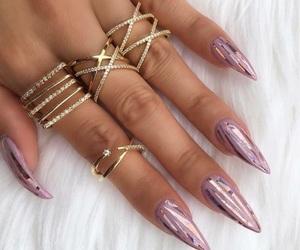 gold, metallic, and nails image