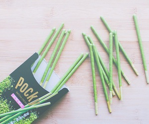 pocky, food, and green image