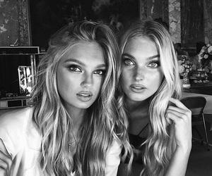 model, elsa hosk, and black and white image