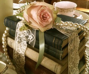 books, pearls, and roses image