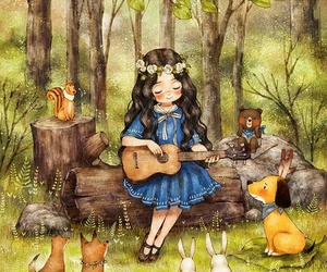 girl, dog, and forest image