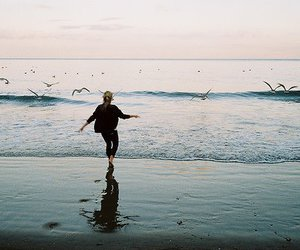 girl, sea, and bird image