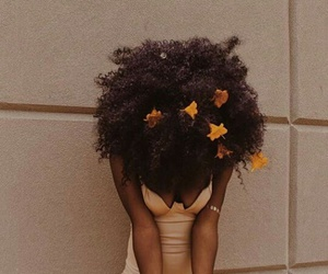 Afro, dress, and flowers image