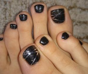 black, black nails, and gel image