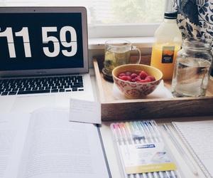 desk, school, and food image