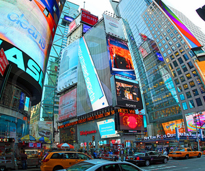 lights, times square, and vertical panorama image