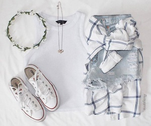 converse, jewellery, and trainers image