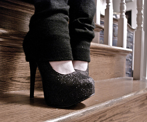 black, glitter, and shoes image