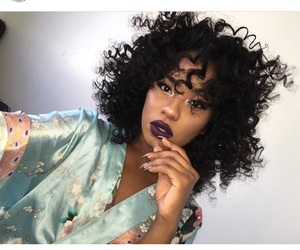 black lips, curls, and hair image