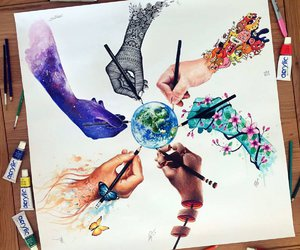art, drawing, and world image