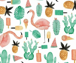 wallpaper, flamingo, and cactus image