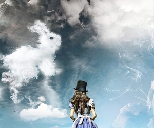 alice, clouds, and rabbit image