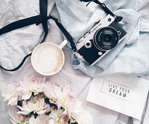 camera, fashion, and flowers image