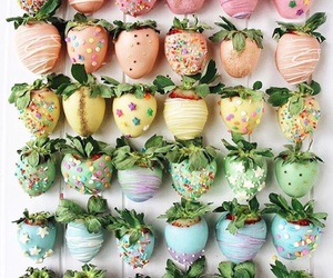 food, junk food, and strawberries image