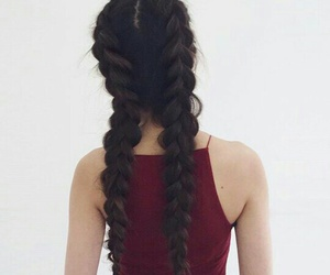 hair, braids, and long image