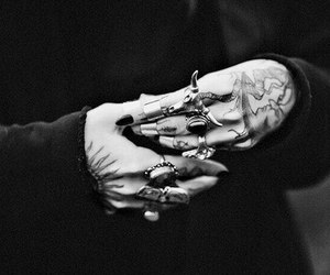 rings, tattoo, and black and white image
