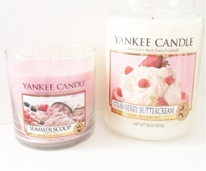 candle, yankee, and strawberry image