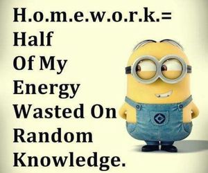 homework, minions, and funny image