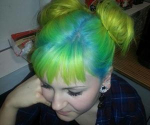 bangs, green hair, and sky blue image
