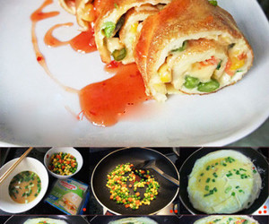 food, omelet, and roll image