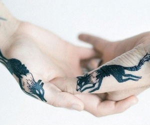 tattoo, fox, and hands image