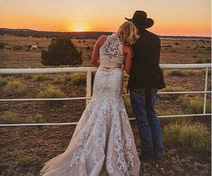 sunset, country, and wedding image