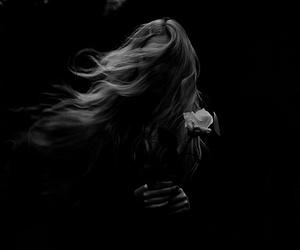 girl, black and white, and dark image