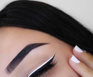makeup, white, and eyeliner image