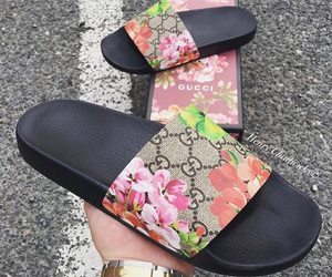 flowers, gucci, and slides image