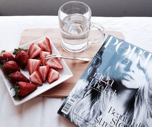 strawberry, magazine, and food image