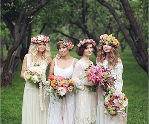 bride, wedding, and boho image